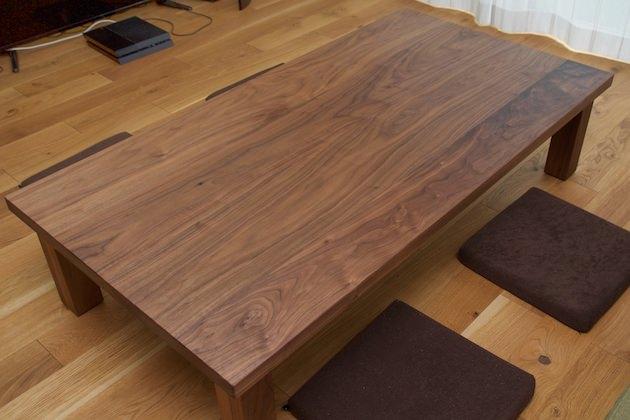 納品事例:ウォールナット材ローテーブル
