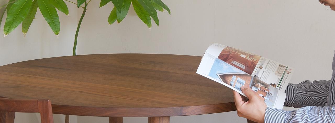ソリウッドの無垢丸テーブル
